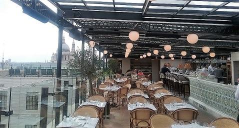 Herschel gebruikt voor restaurantverwarming in bar op het dak