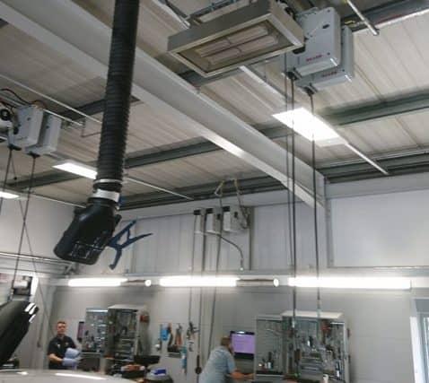 garage werkplaats verwarming bij Snows Volvo