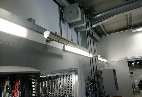 garage werkplaatsruimte verwarmd door Herschel